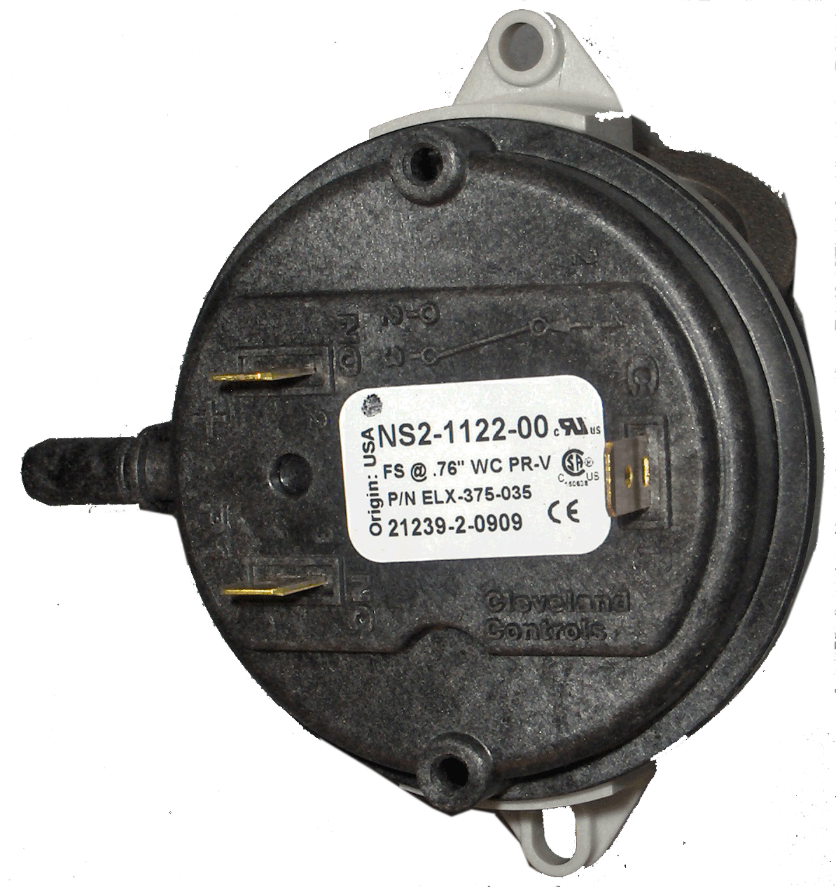Back Pressure Switch, 376 WC