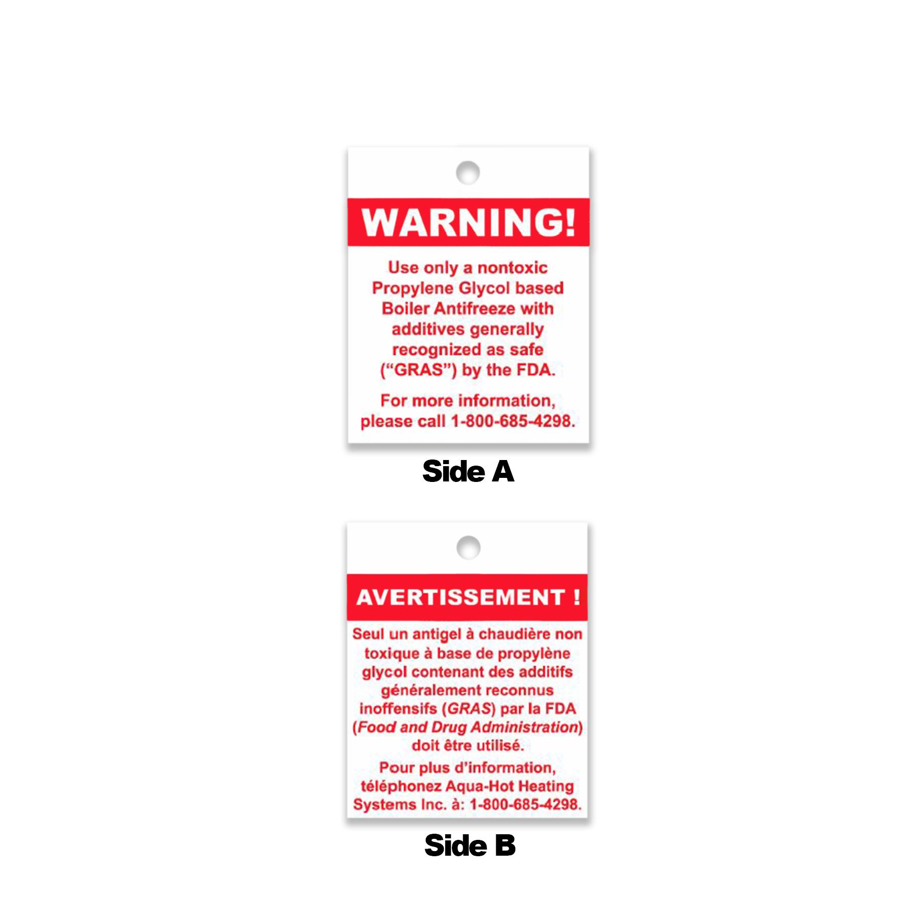 Propylene Glycol Notice Tag, English/French