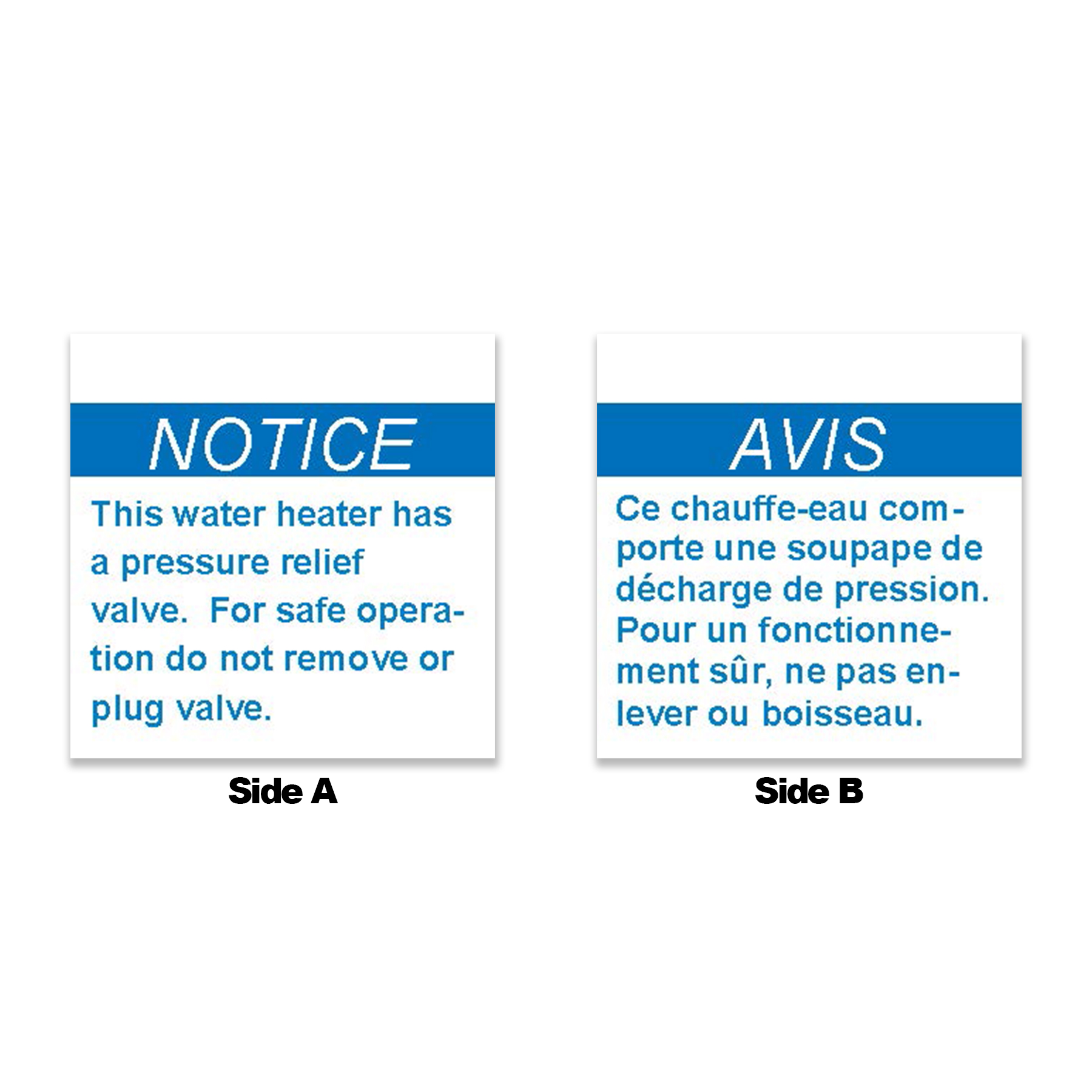 Blue Relief Valve Tag, English/French