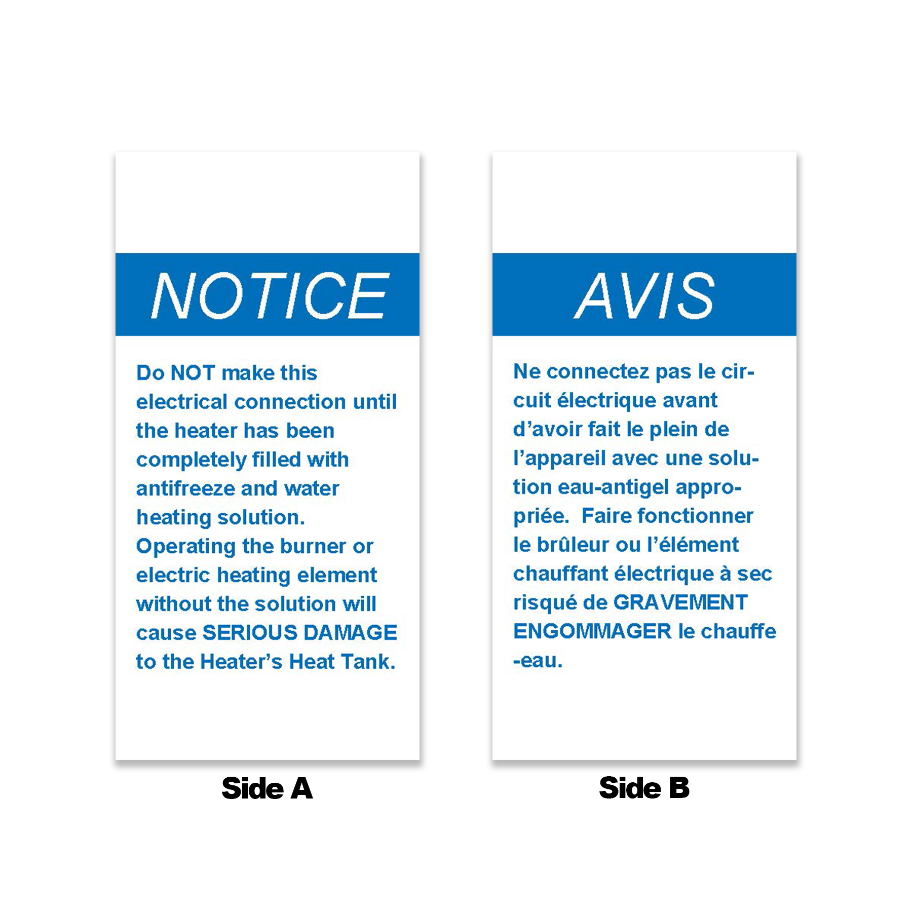 Blue Start-Up Notice Tag, English/French
