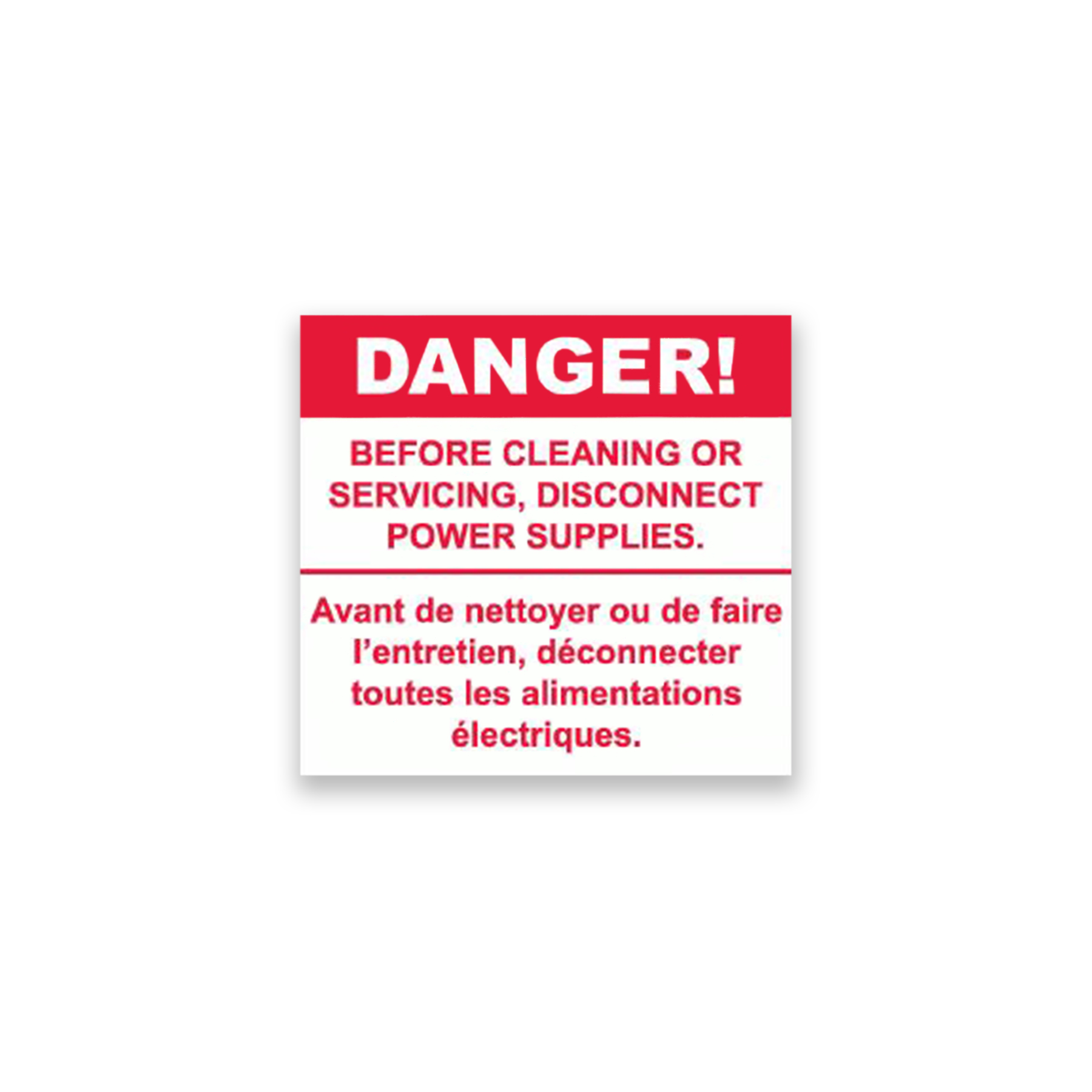 CONS Power Disconnect Danger Label, English/French