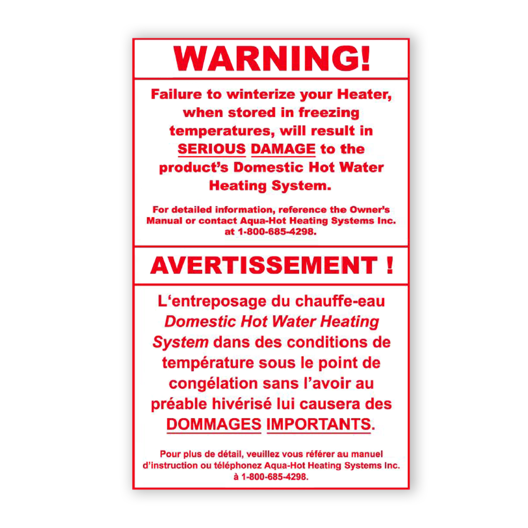 CONS WR Winterization Danger Label, English/French