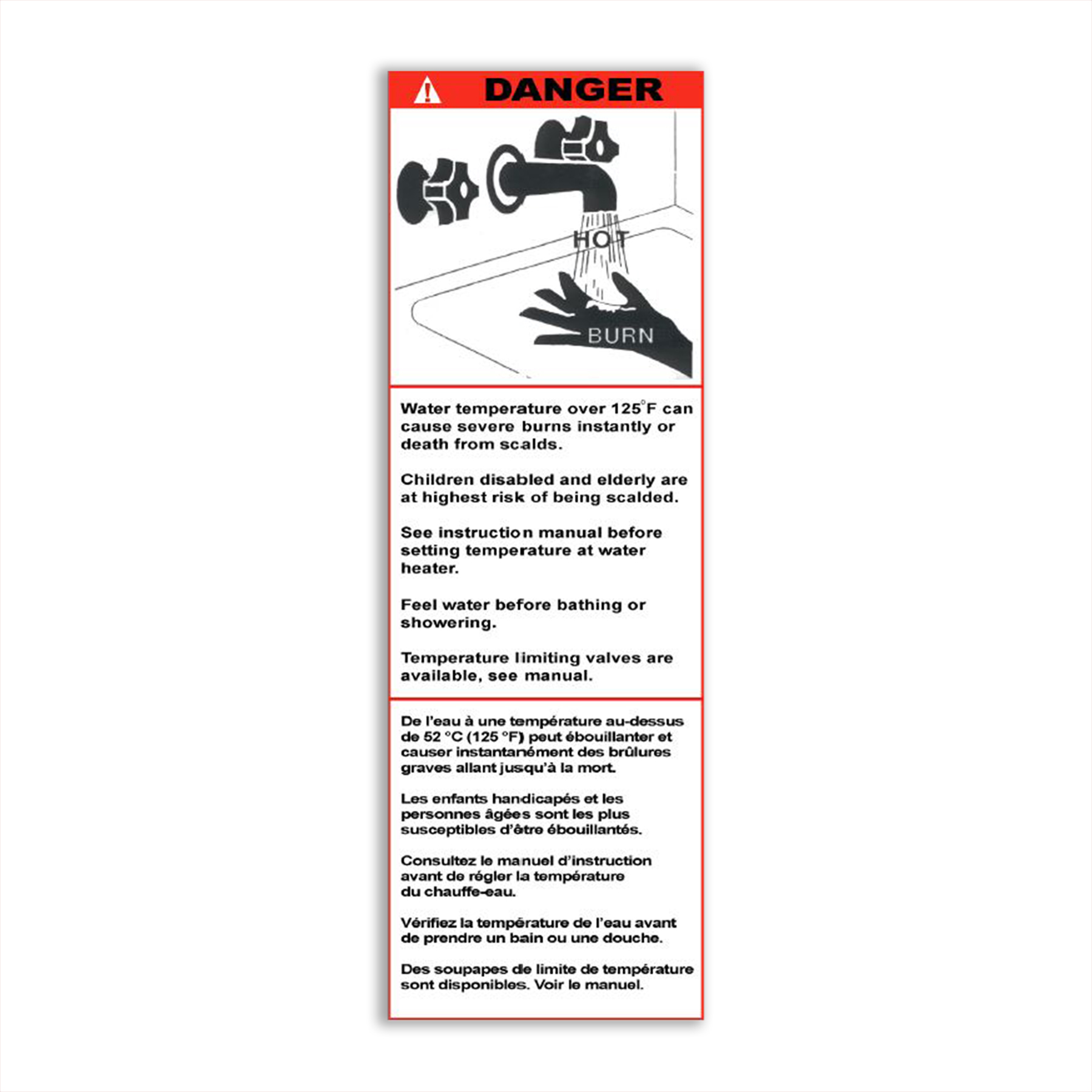CONS Scald Hazard Label, English/French