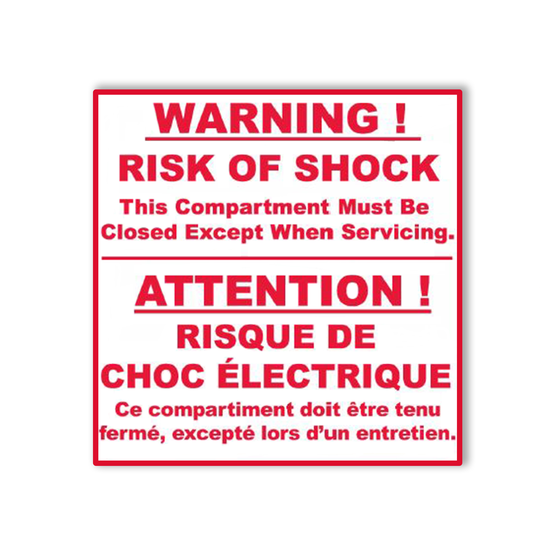 CONS WR Risk of Shock Label, English/French