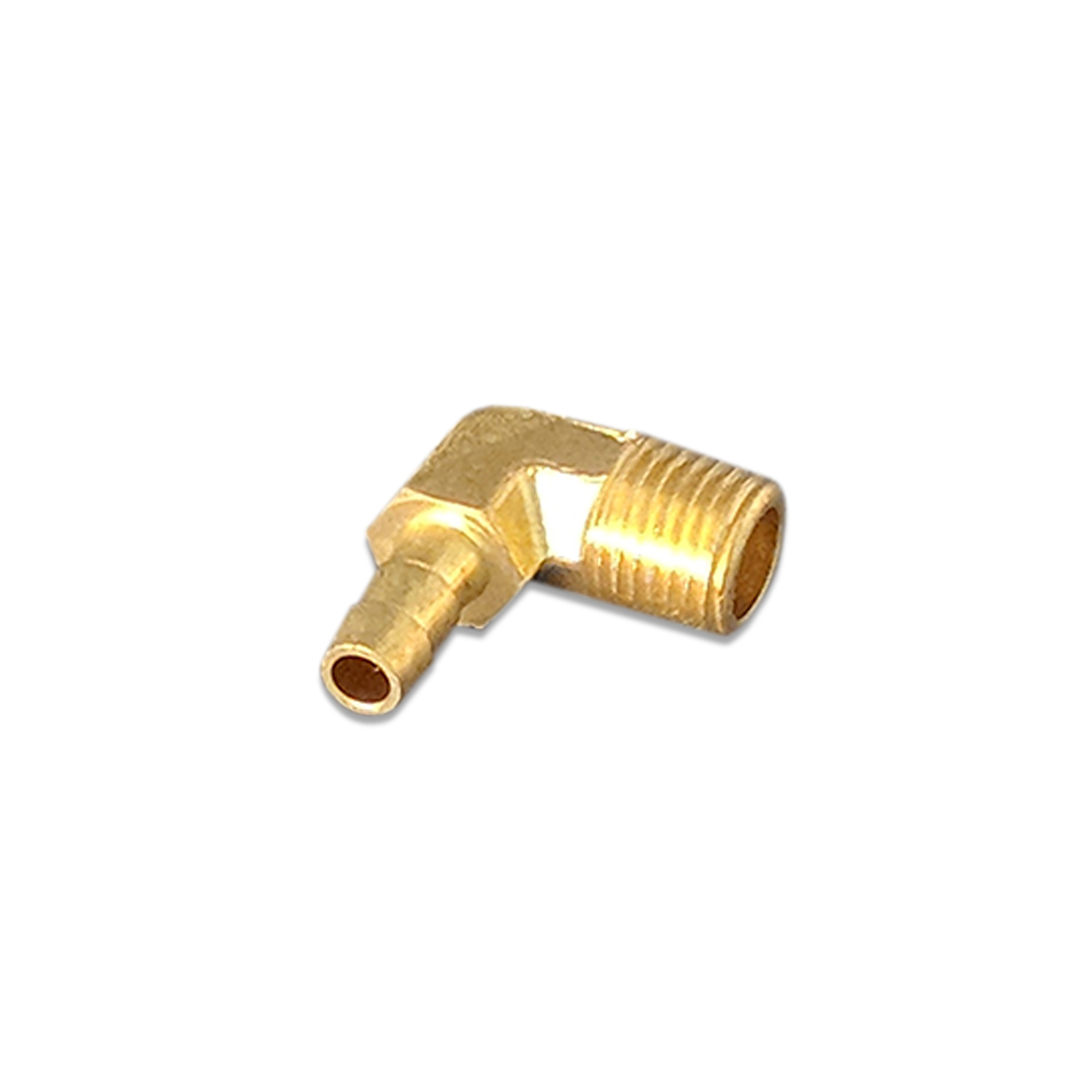 Brass Fitting, 90 Degree Elbow, Barb, 1/4 x 1/4, (M) NP