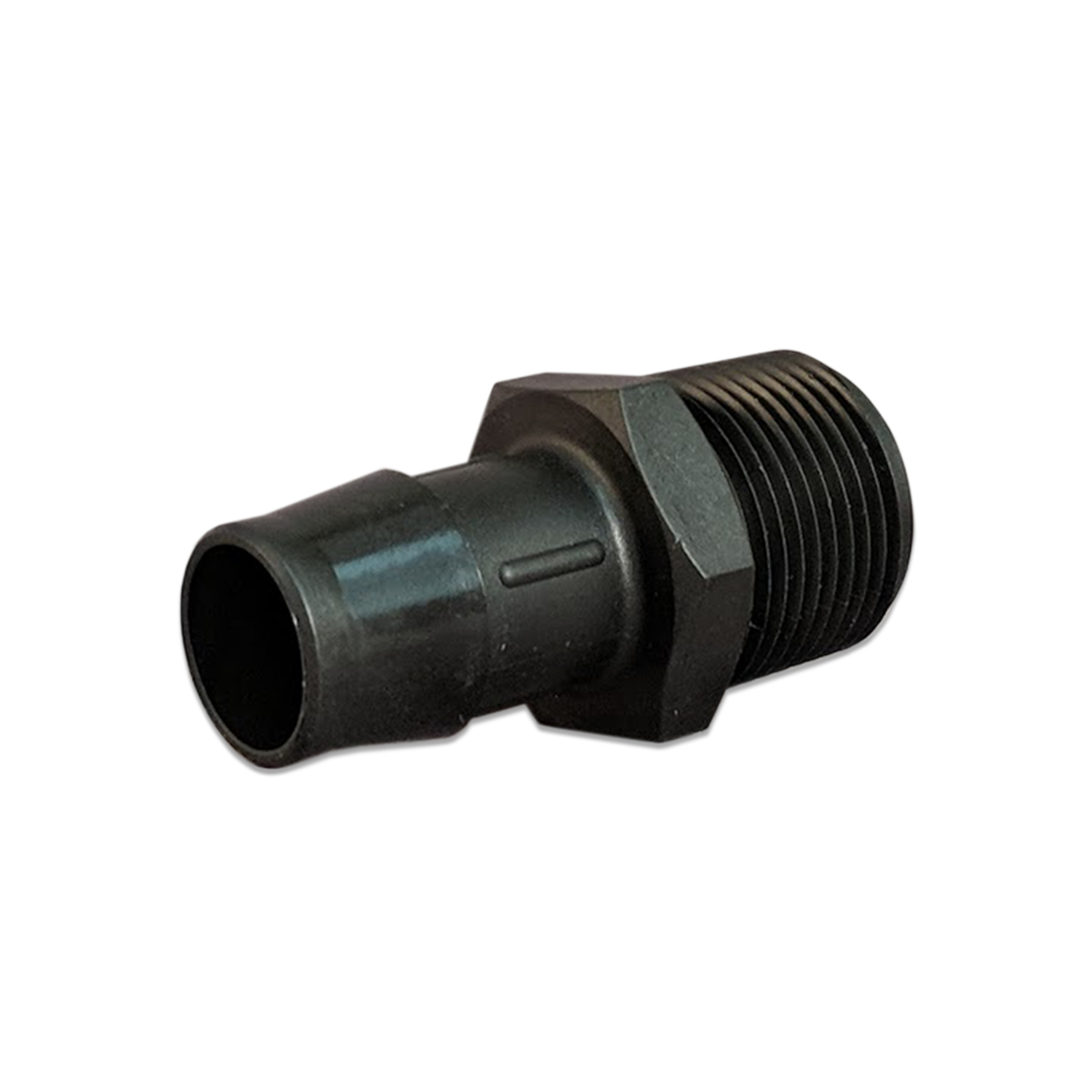 Glass Filled Black Nylon Barb Fitting, 3/4 in. NPT by 3/4 in.