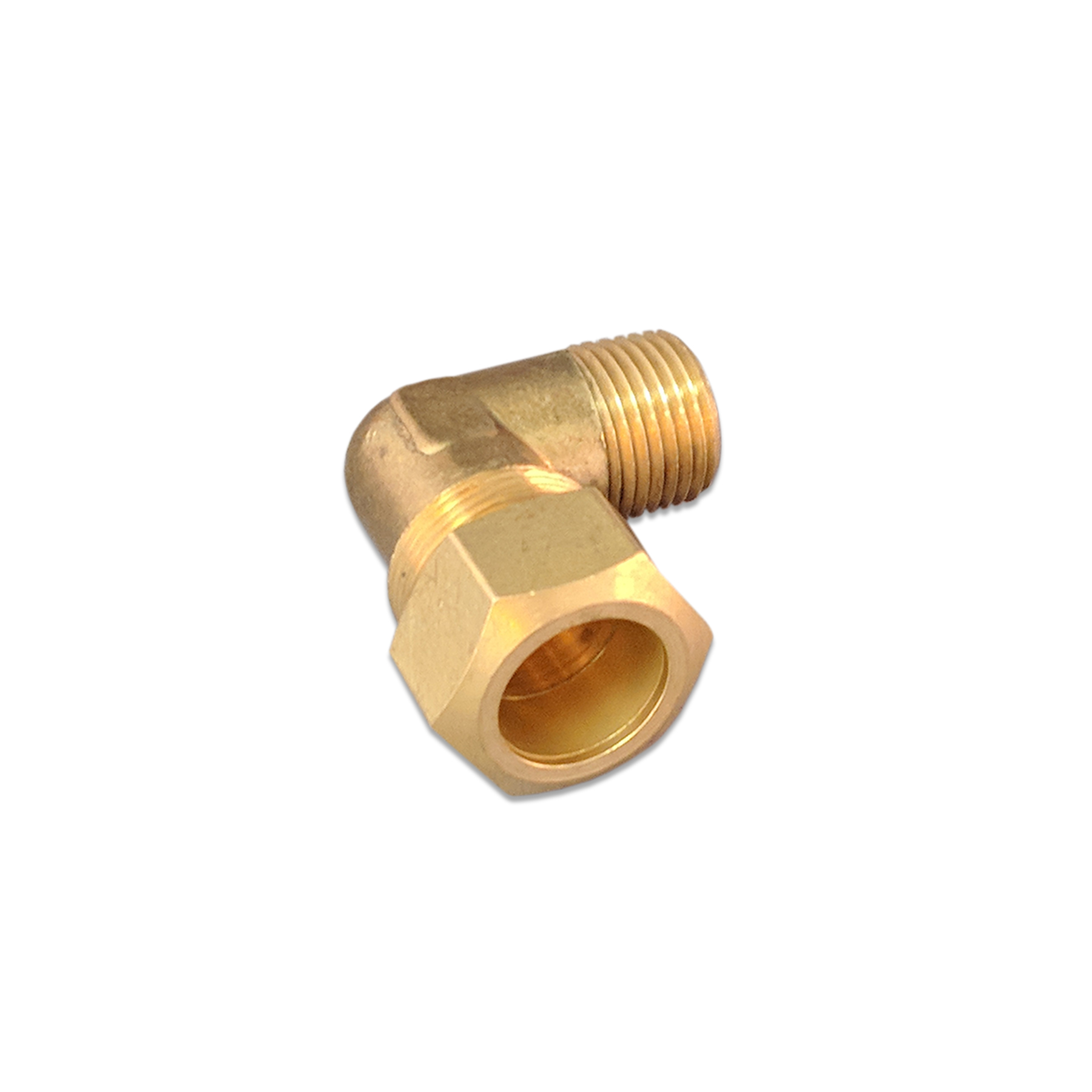 Brass 90 Degree Compression Elbow Fitting, 3/4 x 1/2
